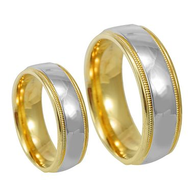 Custom Made Milgrain Wedding Band In 14k Two Tone, Comfort Fit Promise Ring