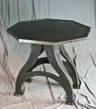 Custom Made Octagon Industrial Dining Table (Round Avail)- Poker Table - Steel Top (Reclaimed Wood Avail.)