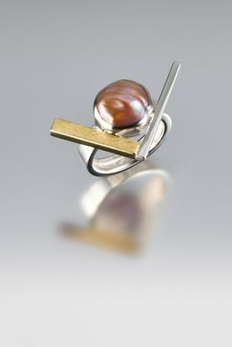 Custom Made Sterling Silver, 18kt Yellow Gold And Cultured Pearl Ring