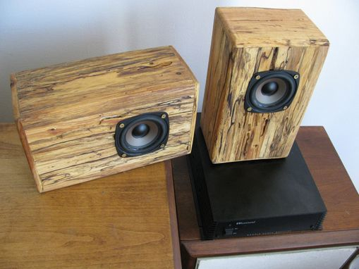 Hand Crafted Spalted Wormy Maple Speakers By Five Fork