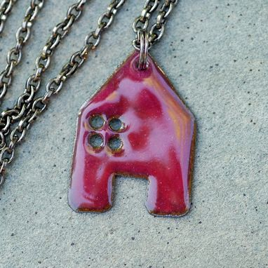 Custom Made House Pendant Copper Enamel Home Necklace Enameled Jewelry - Dark Pink