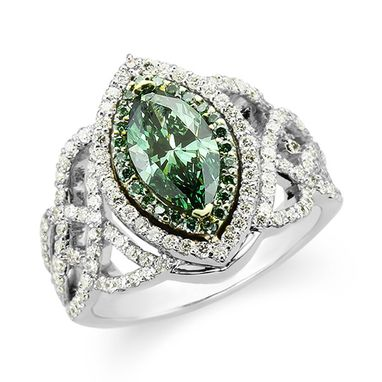 Custom Made Celtic Engagement Ring With Green Diamond