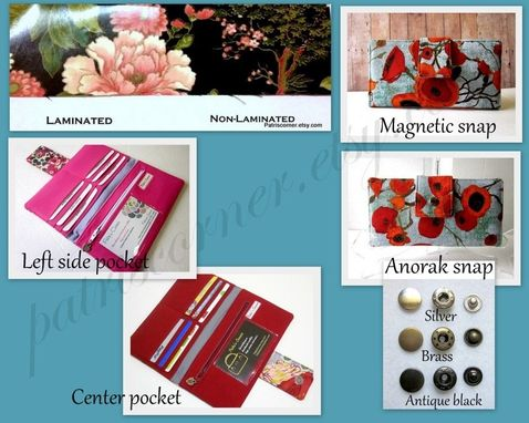 Custom Made Handmade Gray Wallet Big Red Poppy Flower Pink Roses Yellow Dots