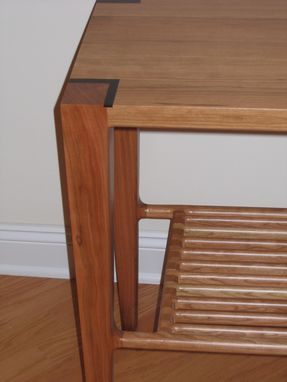 Custom Made Cherry Hallway Table With Slat Shelf
