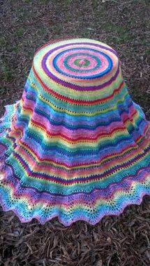 Custom Made Rainbow Pi Shawl - Handspun & Handknit