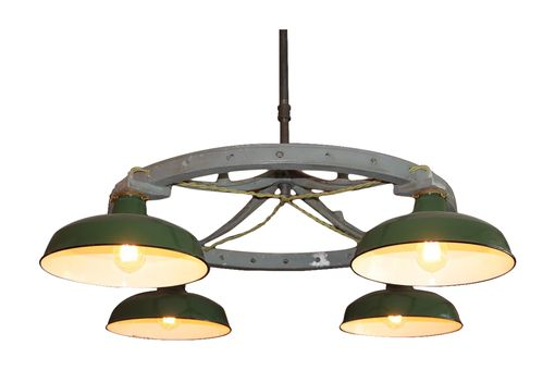 Custom Made Industrial Green Porcelian Shade Chandelier, Original
