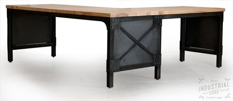 Hand crafted modern l shaped ash top and steel desk wood for Metal desk with wood top