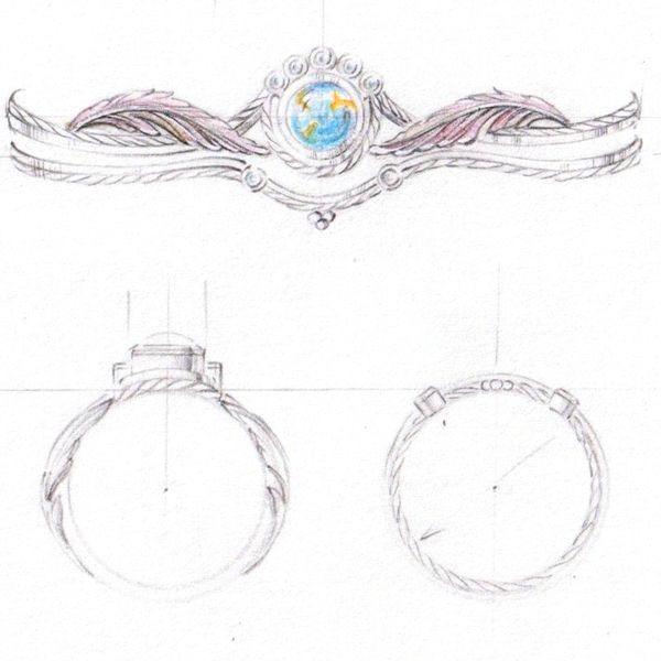 Our artist's sketch for a turquoise engagement ring in multiple metals, with feather and braided rope details in the band.