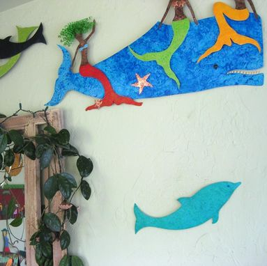 Custom Made Handmade Upcycled Metal Dolphin In Turquoise Blue Wall Art Sculpture