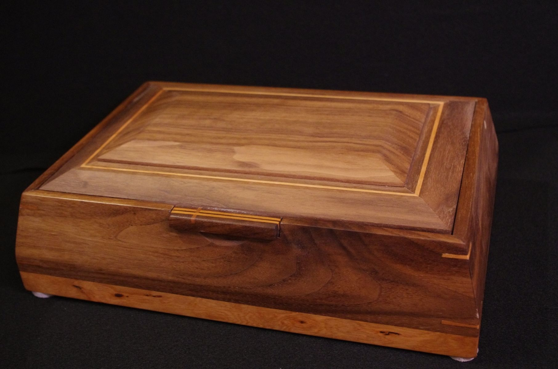 Handmade Walnut And Cherry Beveled Valet Box By Lawson