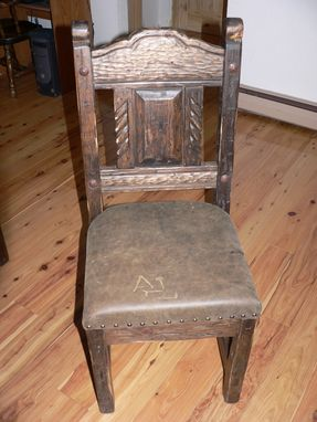 Custom Made Southwest Distressed Dining Chair With Leather Seat