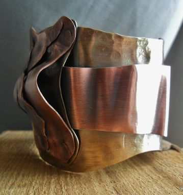 Custom Made Riveted Brass And Copper Sculptural Cuff Bracelet