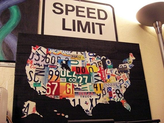 Hand Made Small License Plate Map by USPlateArt | CustomMade.com United States Map Made Out Of License Plates on using map of missouri license plates, united states map printable pdf, united states license plate game, 50 states license plates, united states map with scale, us map made of license plates, united states license plate designs, united states map art, united states licence plates, united states license plates 2014, united states map printout, furniture made from license plates,