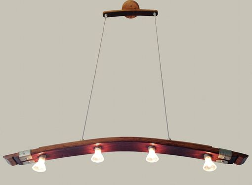 Custom Made Saba, Recycled Wine Barrel Stave Pendant Light, Kitchen Island Light