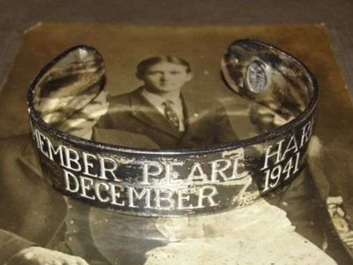 Custom Made Antiqued Sterling Silver Men's Pearl Harbor Cuff Bracelet