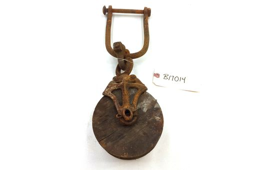 Custom Made Antique Cast-Iron & Wood Pulley - Storiedboards - #B17014