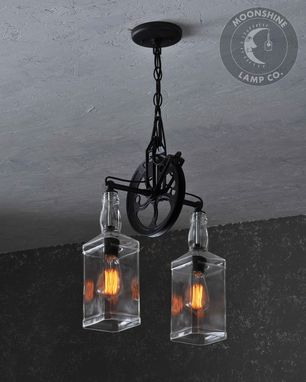Custom Made The Carriage House Large Format - Hanging Pendant Pulley Wheel Light
