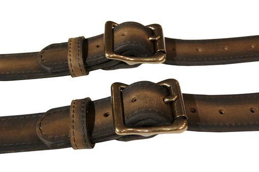 Custom Made Distressed Brown Leather Suspenders With Antique Brass Hardware