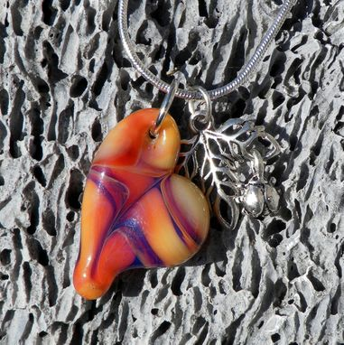 "Custom Made Sterling Silver Charm Necklace With Purple And Yellow Glass Heart Pendant ""Serendipity''"