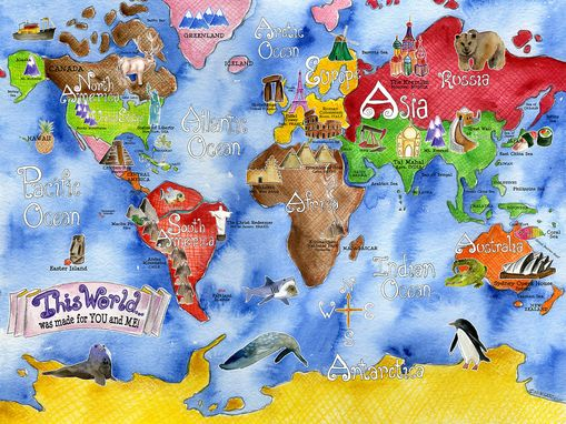 Custom Made Children's Illustrated Watercolor Art Royal Blue World Map