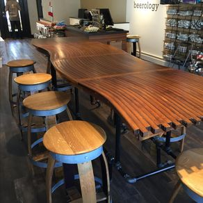 Barrel Stave Bar Top Kitchen Counter Dining Room Table With Gas Pipe Base