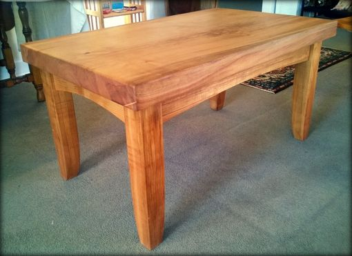 Custom Made Wood Coffee Table - Natural, Wood Slab, Sustainably Harvested Maple Or Black Walnut