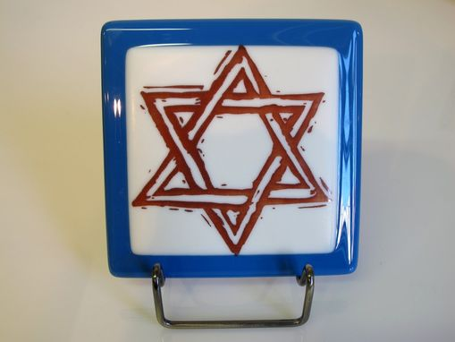 Custom Made Fused Glass Images, Star Of David