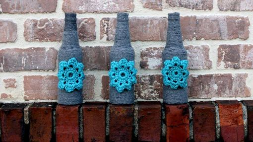 Custom Made Yarn Wrapped Bottles Grey And Teal Crochet Flower