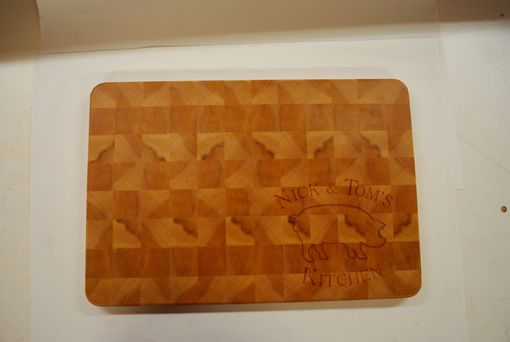 Custom Made End Grain Maple Cutting Board - Personalized With Engraved Logo