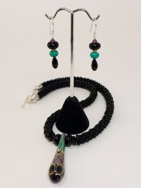 Custom Made Set - Black Kumihimo Necklace With Lampwork Focal Teardrop And Matching Earrings