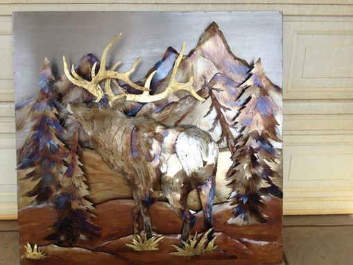 Custom Made 4 Ft X 4 Ft. Elk Metal Mural