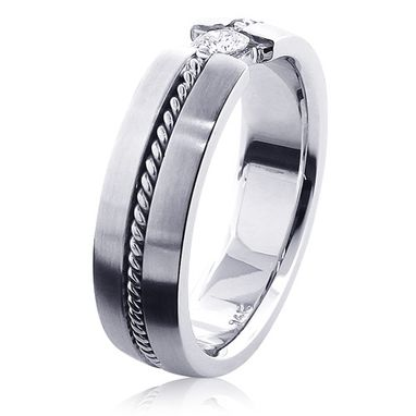 Custom Made Braided Diamond Wedding Band For Men