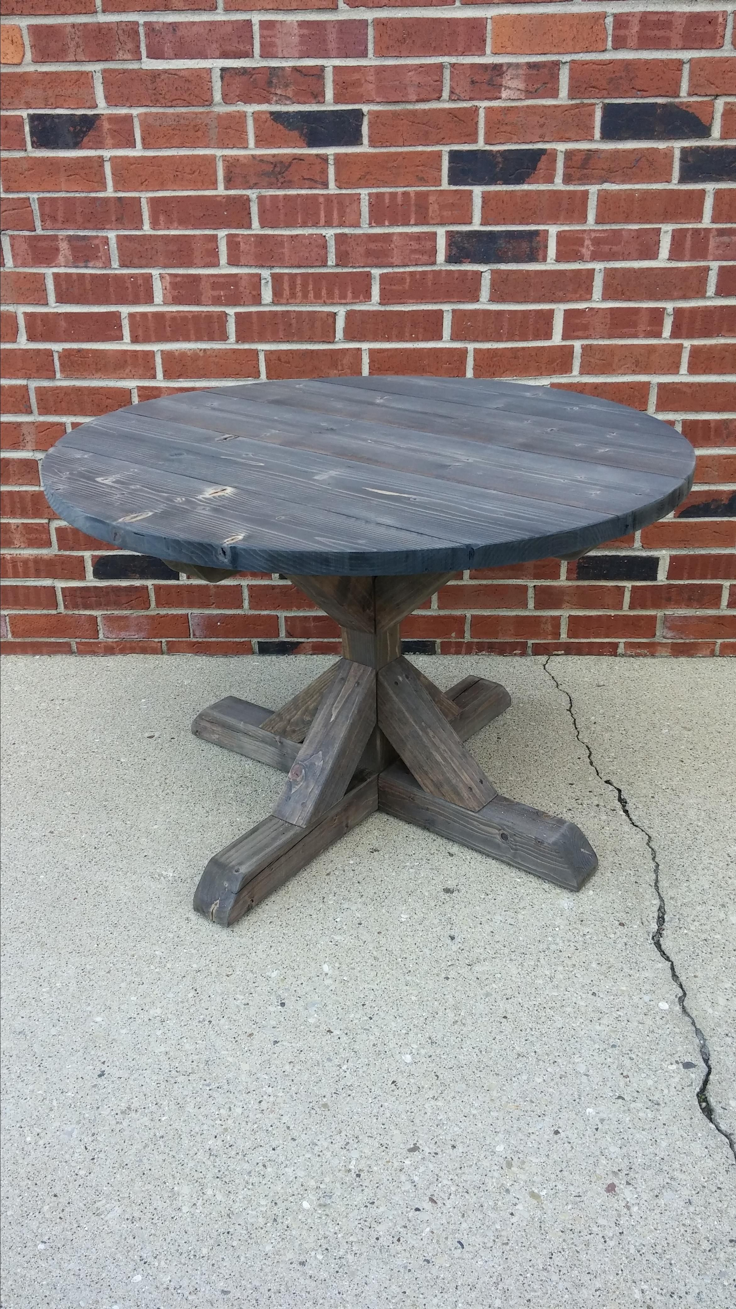 Hand Made Round Fancy X Dining Table Farmhouse Dining
