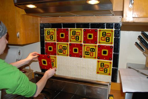 Custom Made Kitchen Backsplash In Red, Gold, And Black; Fused Glass Custom Tiles