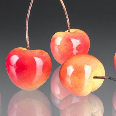 Custom Made Realistic Glass Rainier Cherry Sculpture, Life-Sized