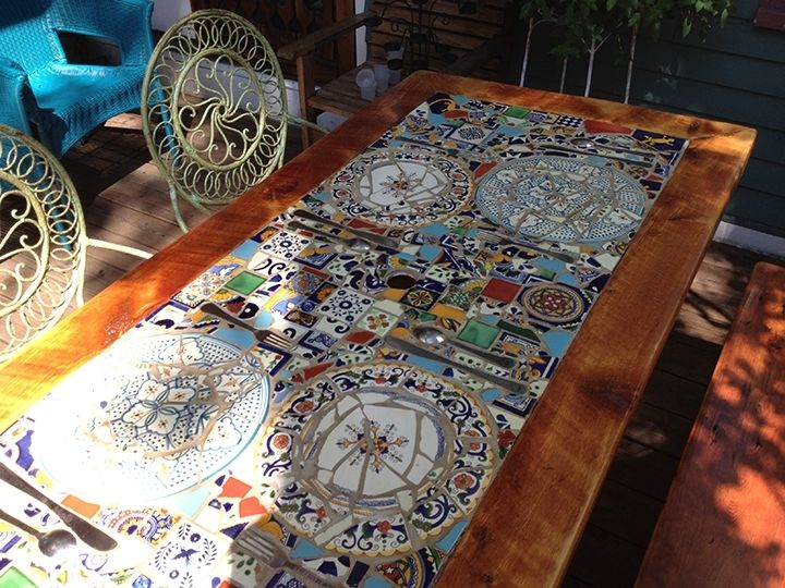 Custom made reclaimed lumber inlaid mosaic outdoor patio table by abodeacious - Basics mosaic tiles patios ...