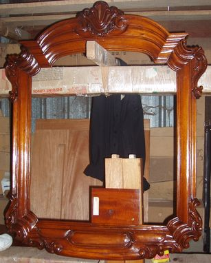Custom Made Large Hand-Carved Mirror Frame