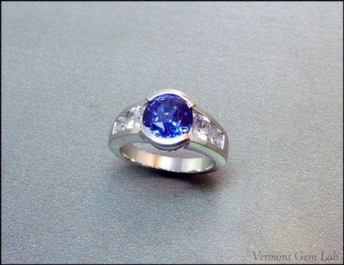 Custom Made Channel Set Sapphire And Diamond Ring