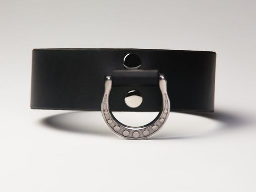 Custom Made Leather Bondage Collar - Black Latigo - Spotted Motif