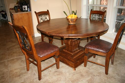 Custom Made Walnut Round Table With Pedestal (Chairs Not Included)