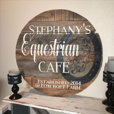 "Custom Made 28"" Circular Custom Barn Wood Sign Baseball Barn Horse"