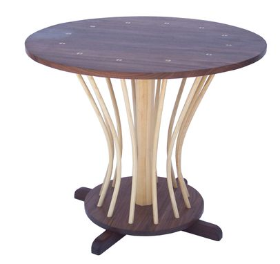 Custom Made Round Walnut And Ash Spindle Table