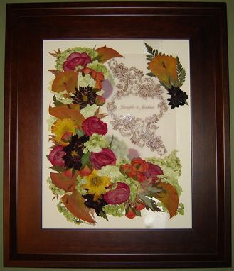 Custom Made Pressed Flower Art ~ Bridal Bouquet With Invitation