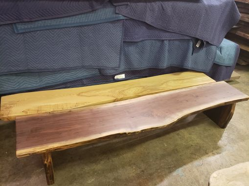 Custom Made Walnut Or Ash Live Edge Bench Solid Slab Wood Built Darn Tough