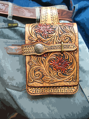 Custom Made Hand Tooled, Hand Carved, Vegetable Tanned Leather Sh_Belt Bag
