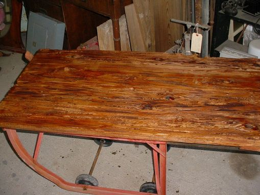 Custom Made Pecky, Wormy Cypress On Iron Cart Base, Coffee Table,