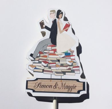 Custom Made Custom Wedding Cake Topper Book Lovers