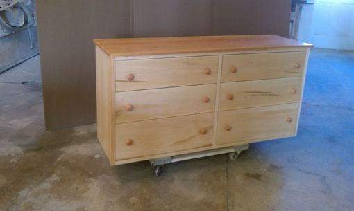 Custom Made Maple 6 Drawer Dresser With Cherry Top