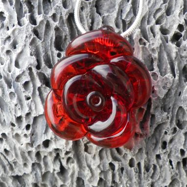 Custom Made Sterling Silver Necklace With Classic Red Glass Rose Pendant