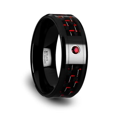 Custom Made Sorrell Black Ceramic Ring With Black And Red Carbon Fiber And Red Ruby Setting - 8mm